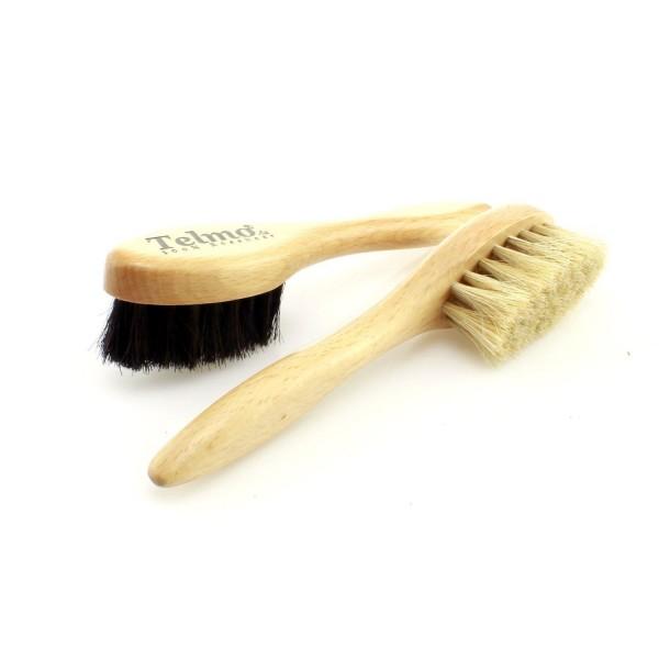 TelMo® Schuh Auftragbürste, Cremebürste deLuxe , helles und schwarzes Rosshaar (spezial)