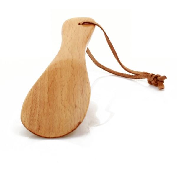 Schuhanzieher aus Buchenholz, mit Lederschlaufe 16cm