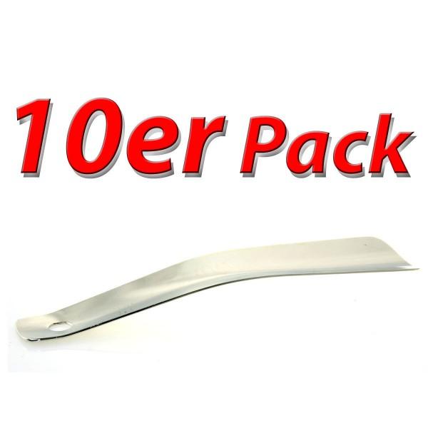 10er Pack Metall Schuhanzieher 15cm, verchromt mit kleiner Lochung