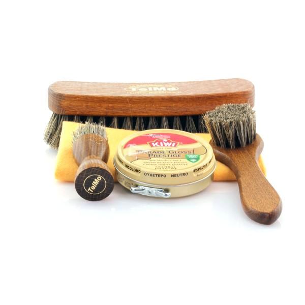 Bürstenset 20H für Glattleder 100% Rosshaar + Poliertuch HELL