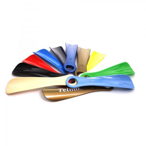 Schuhlöffel Schuhanzieher aus Kunststoff mit großer Lochung verschiedene Farben